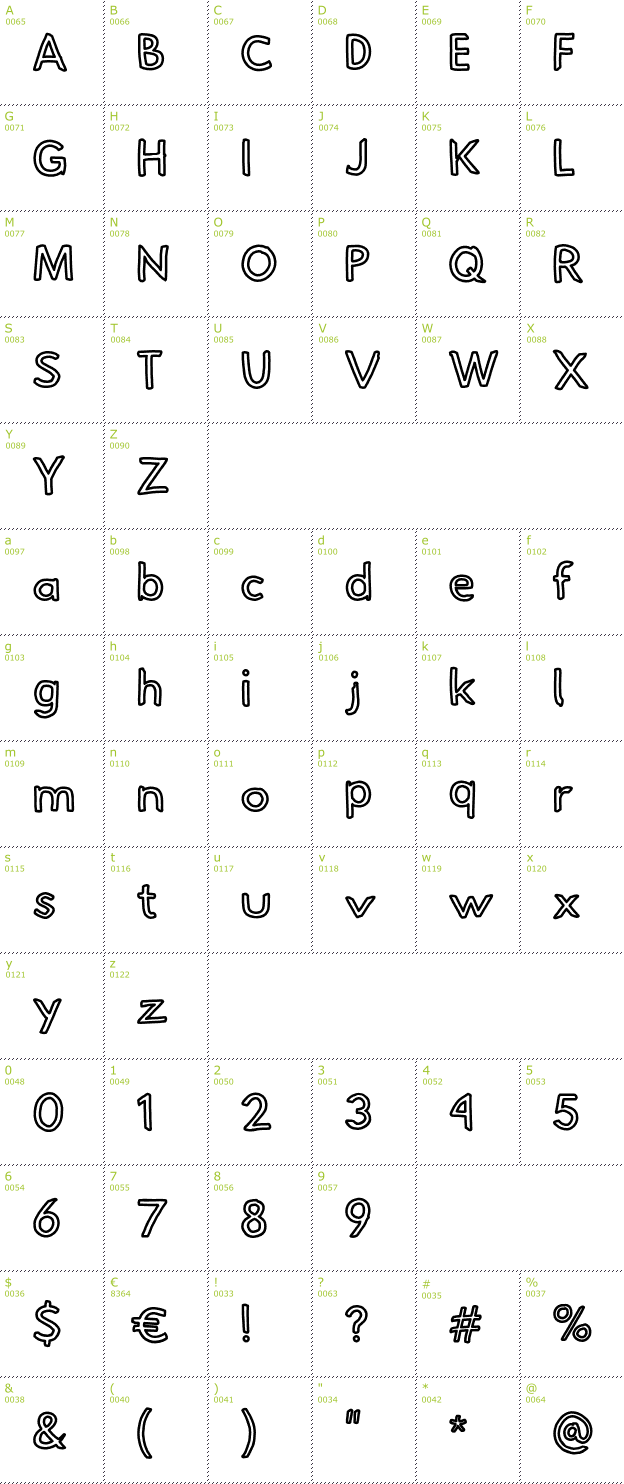 Character Mini-Map: Hussar Pisanka Outline font