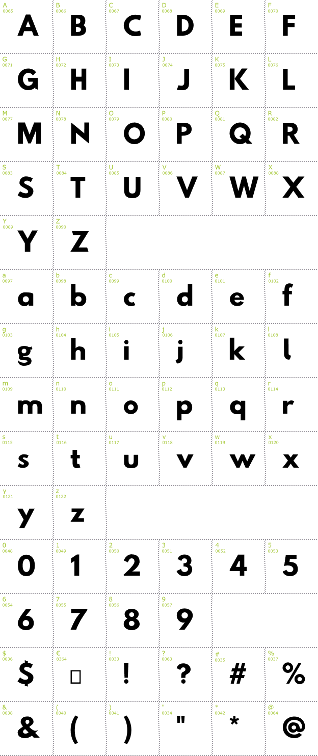 Character Mini-Map: Hussar Tani font