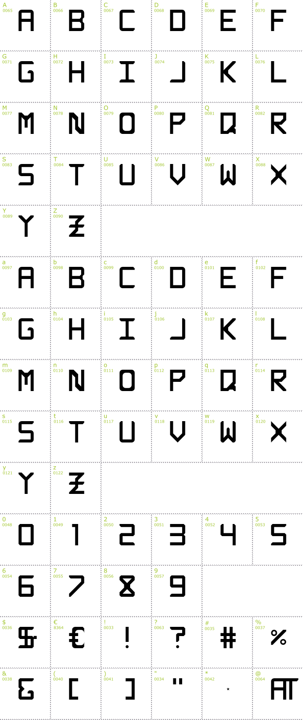 Character Mini-Map: Rabbid Highway Sign Caps font
