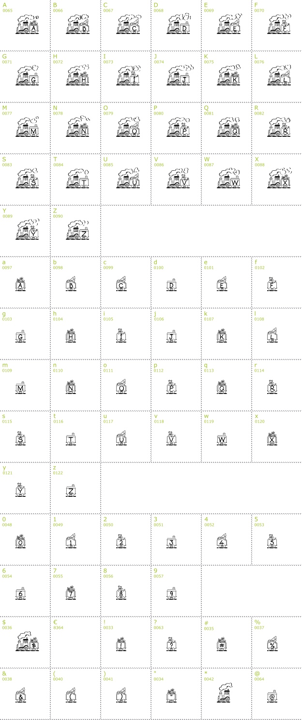 Character Mini-Map: Toy Train font
